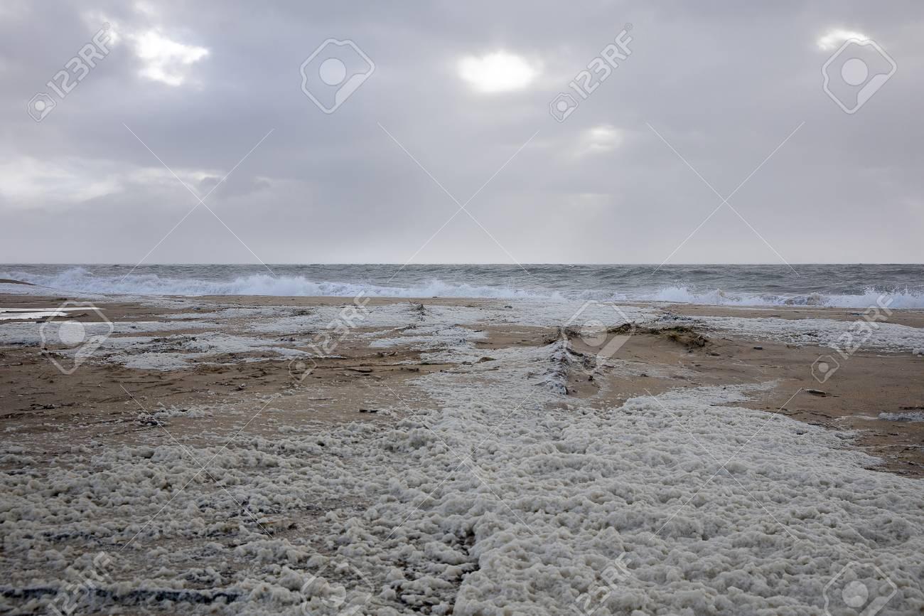Beach With Sea Foam Before The Storm Carmen Hits The Coast Of