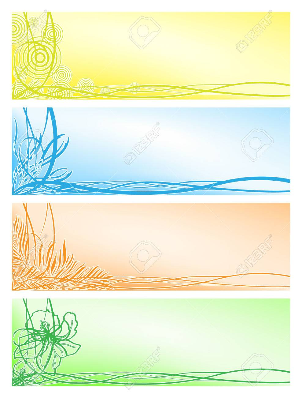 Vector set from four beautiful floral banners Stock Vector - 6195205