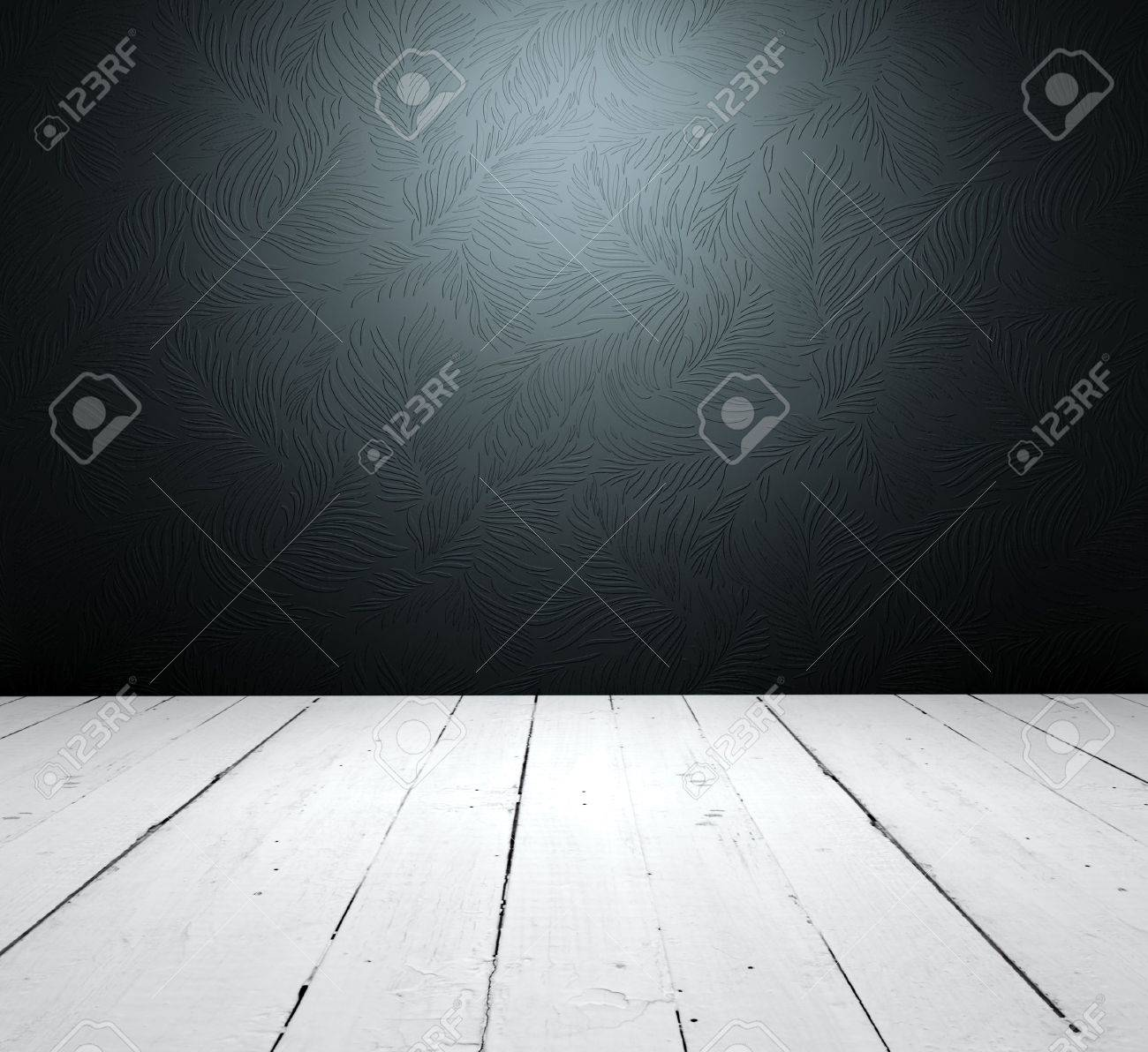 Grungy floor and floral wallpaper it is empty interior Stock Photo - 6588386