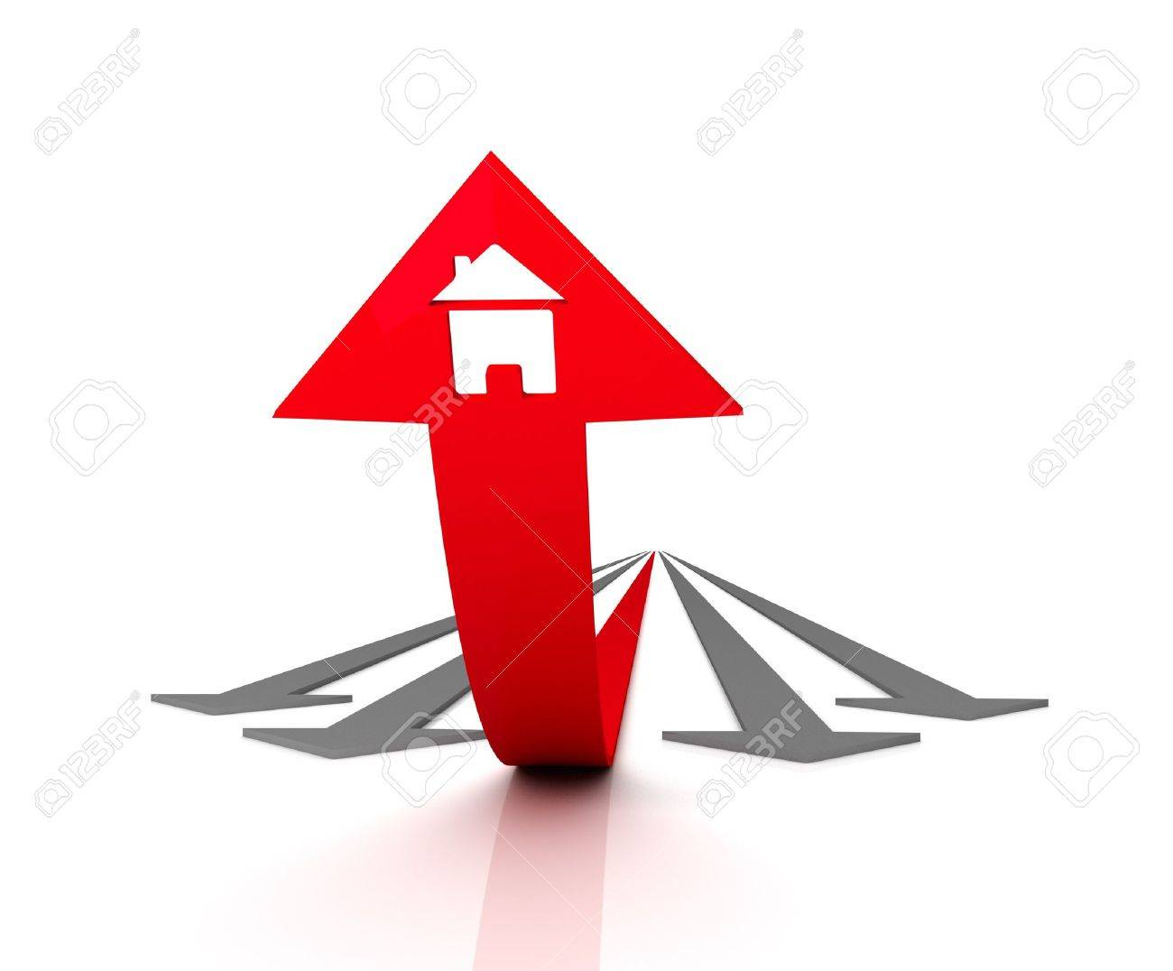Red arrow with icon of house bends above gray arrows. 3D graphic image Stock Photo - 7036931