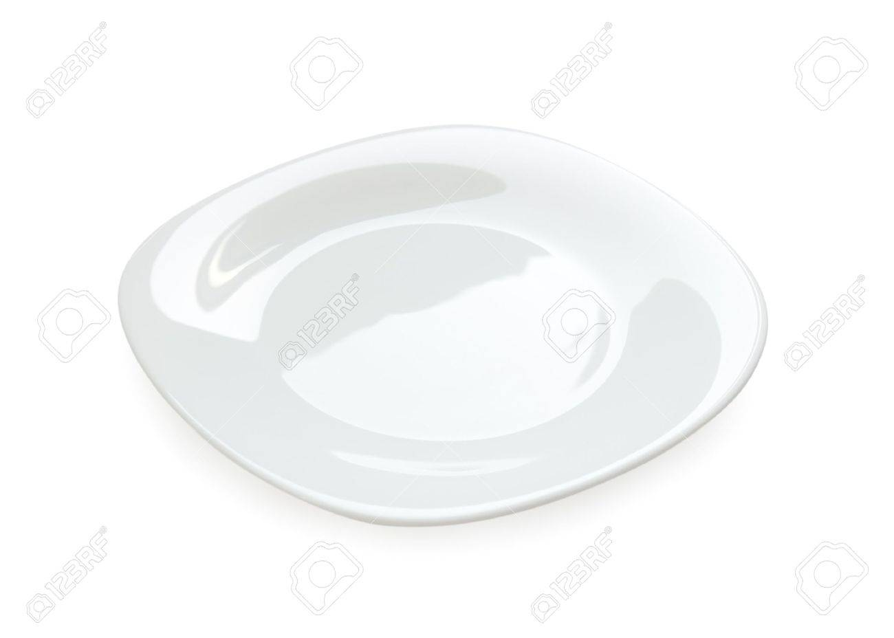 Empty rounded white plate isolated from background Stock Photo - 7268887
