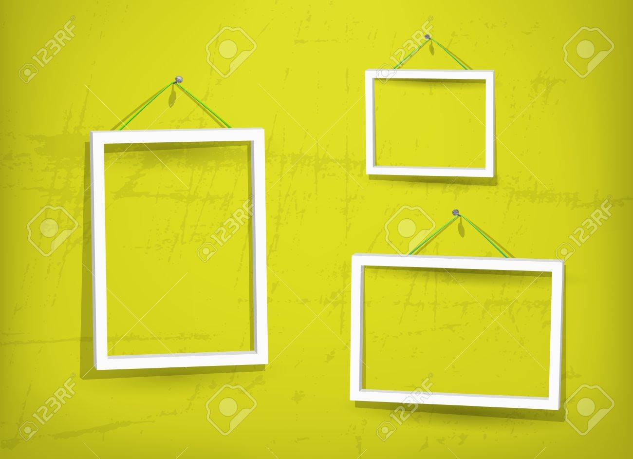 White frame on the wall Stock Vector - 12948778