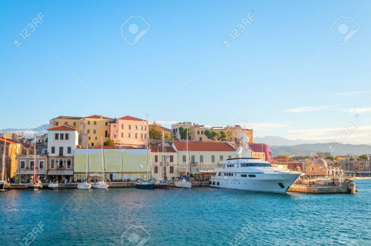 Panoramic View near Mediterranean coast in Crete. Greece. Chania Stock Photo - 24639530
