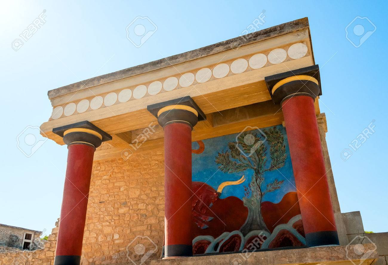 Greece knossos palace ceremonial and political centre of minoan greece knossos palace ceremonial and political centre of minoan civilization and culture stock photo sciox Images