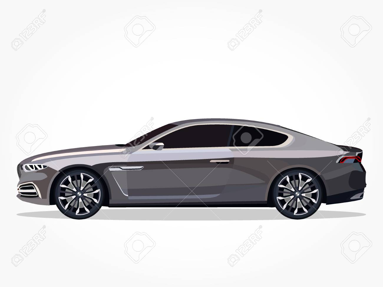 Detailed Side Of A Flat Grey Car Cartoon With Shadow Effect Royalty