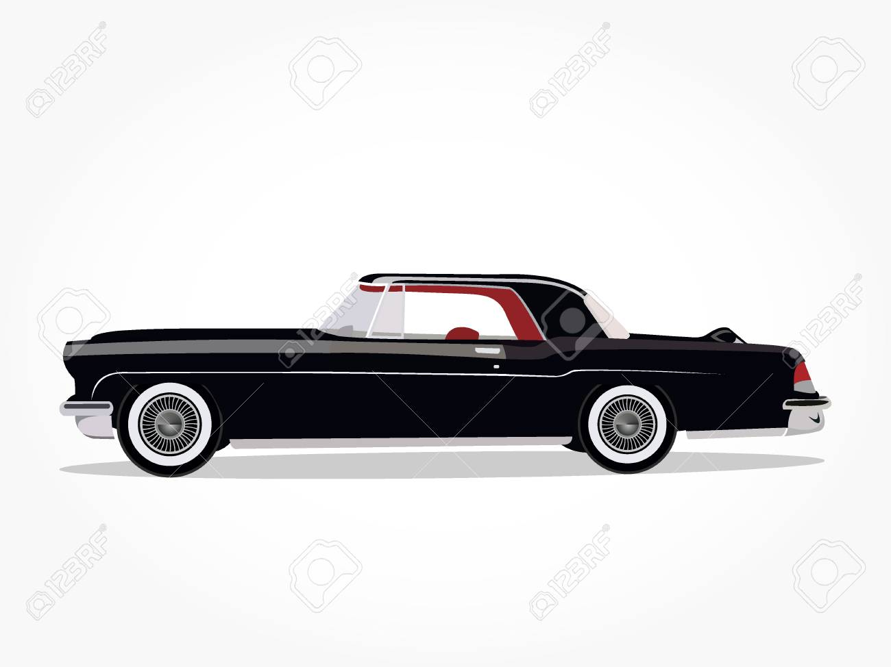 Detailed Side Of A Flat Black Car Cartoon With Shadow Effect Royalty