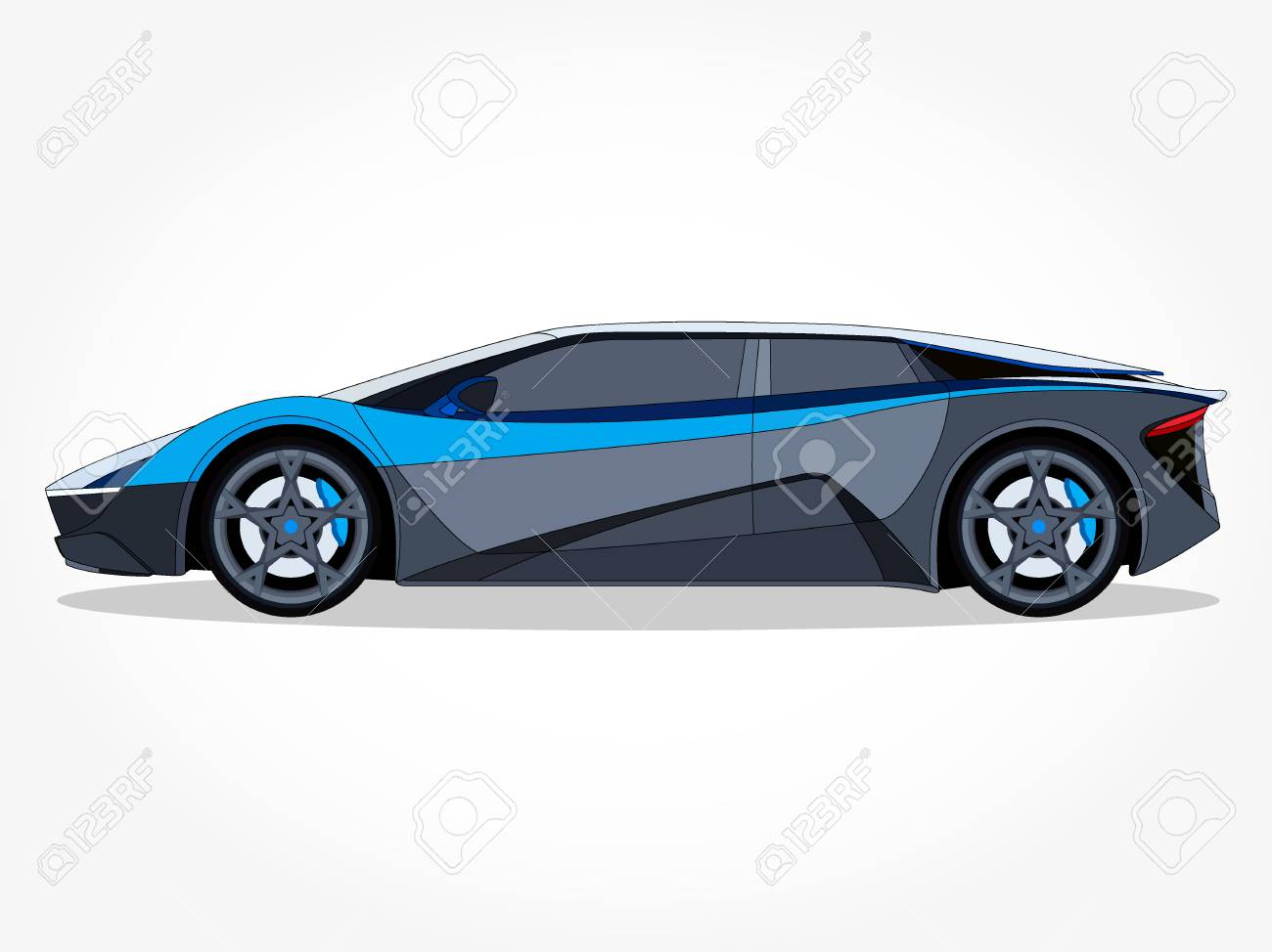 Cool Car Vector Illlustration With Details And Shadow Effect Royalty