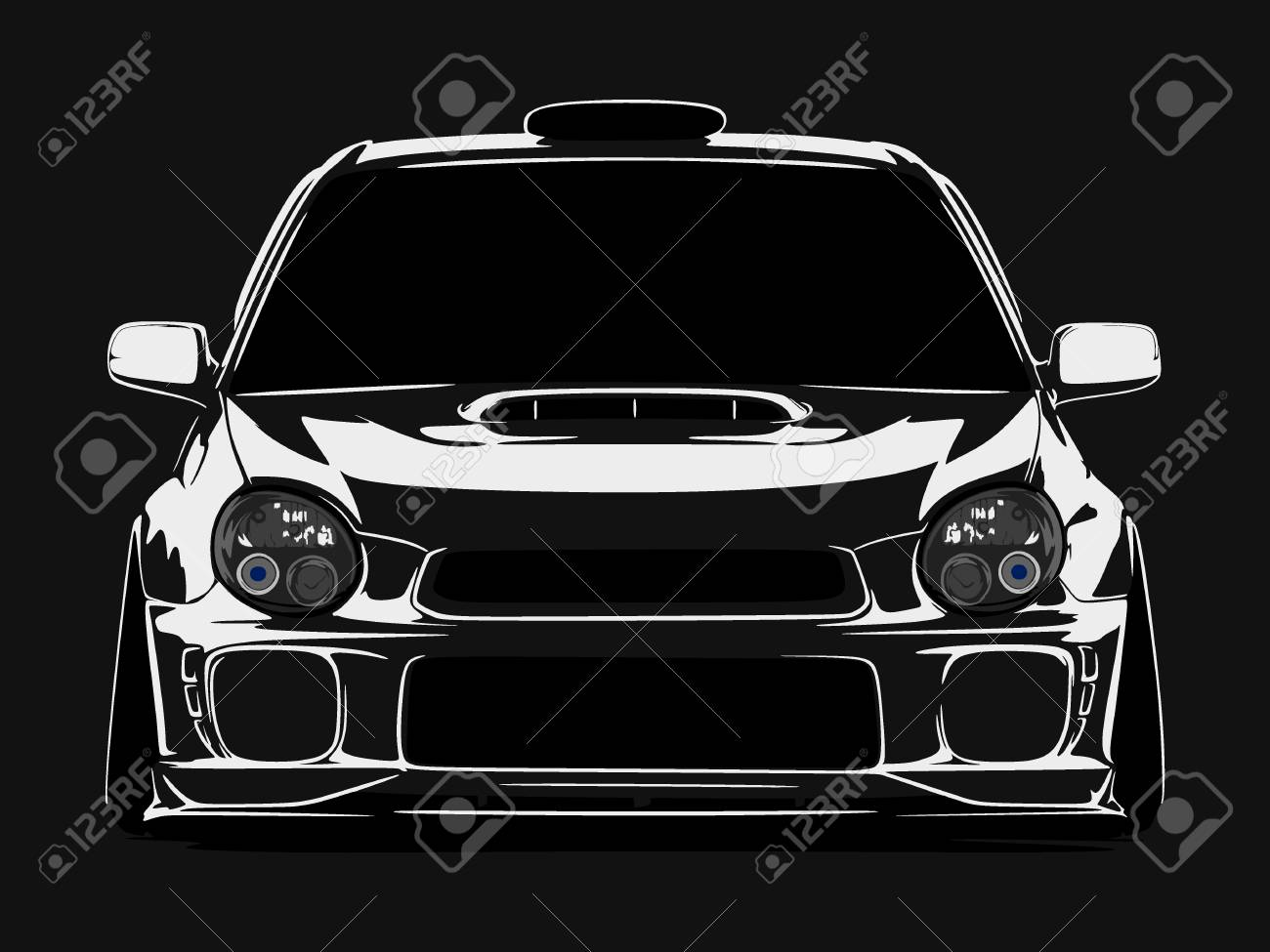 cool car vector illlustration silhouette isolated in flat black background - 109658228