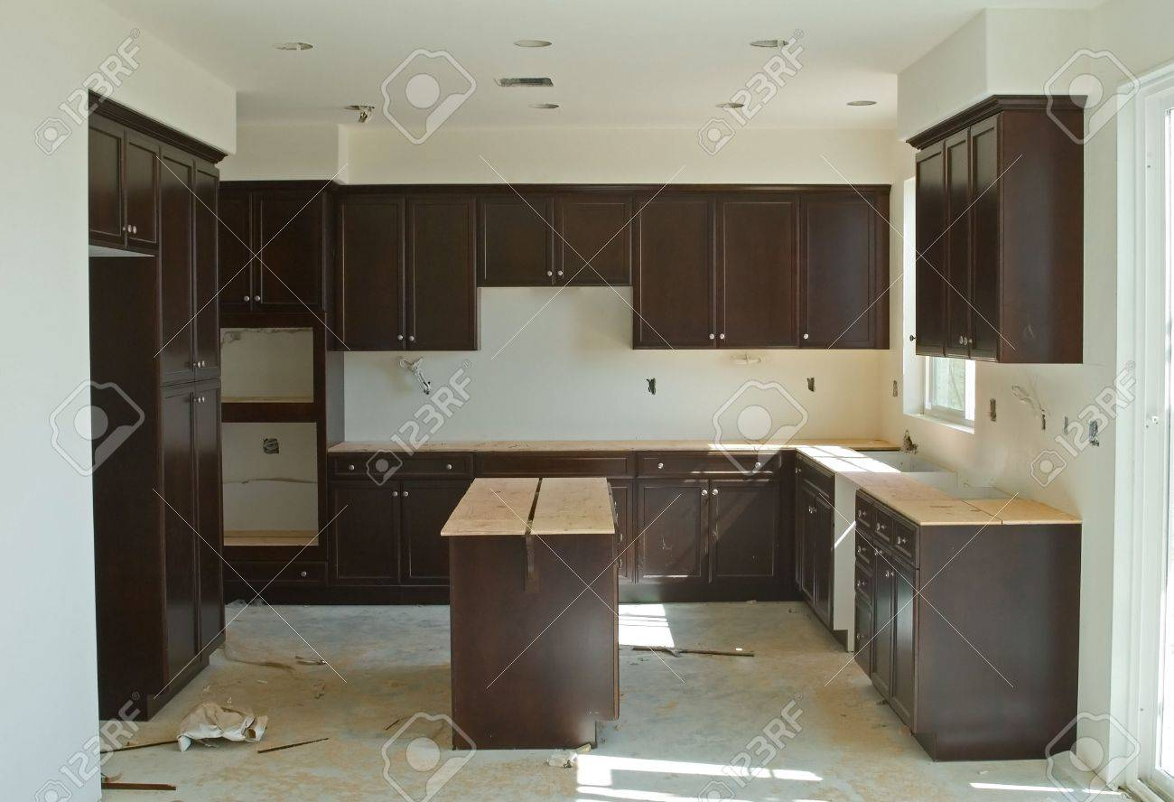 Finished Interior Wood Work Of A New Home Construction Project Stock