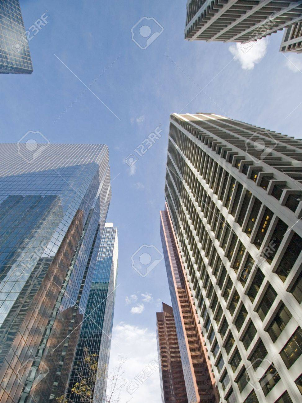 4fd3ad12d019 Downtown Calgary office buildings soaring into the skyline while gleaming  in the sun Stock Photo -