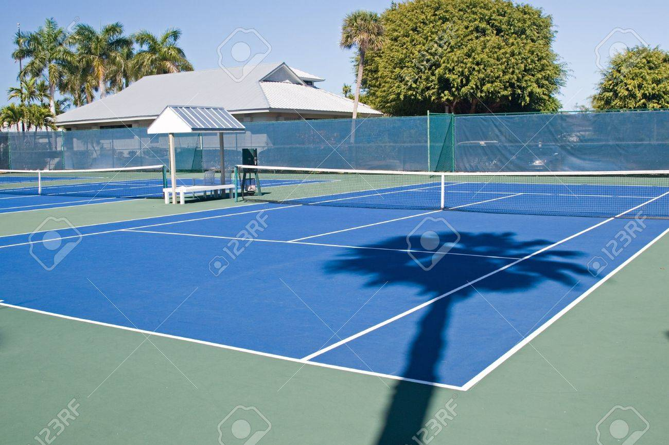 Resort tennis club and tennis courts with balls Stock Photo - 2691043