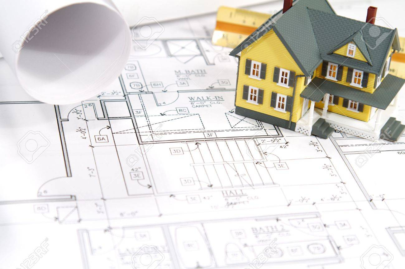 residential home blueprints with a hand made house model stock photo 7331282 luxury home blueprints - Home Blueprints