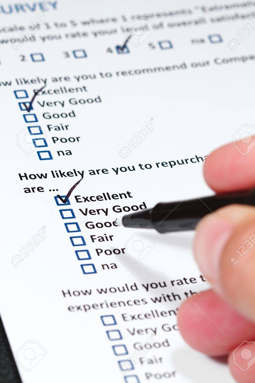 A survey questionnaire for customer satisfaction with checkboxes Stock Photo - 8939792