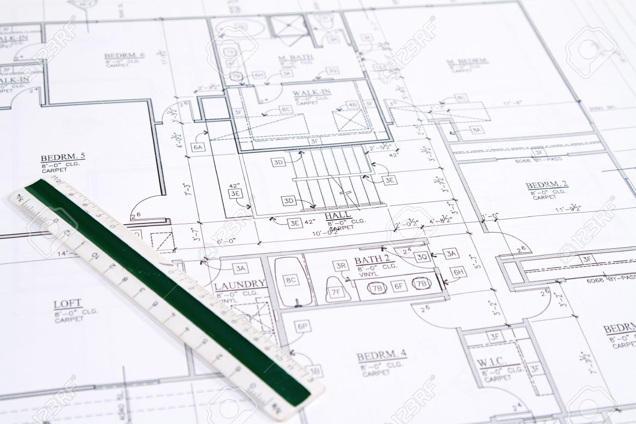 Residential Home Blueprints With A Hand Made House Model Stock Photo 9049856