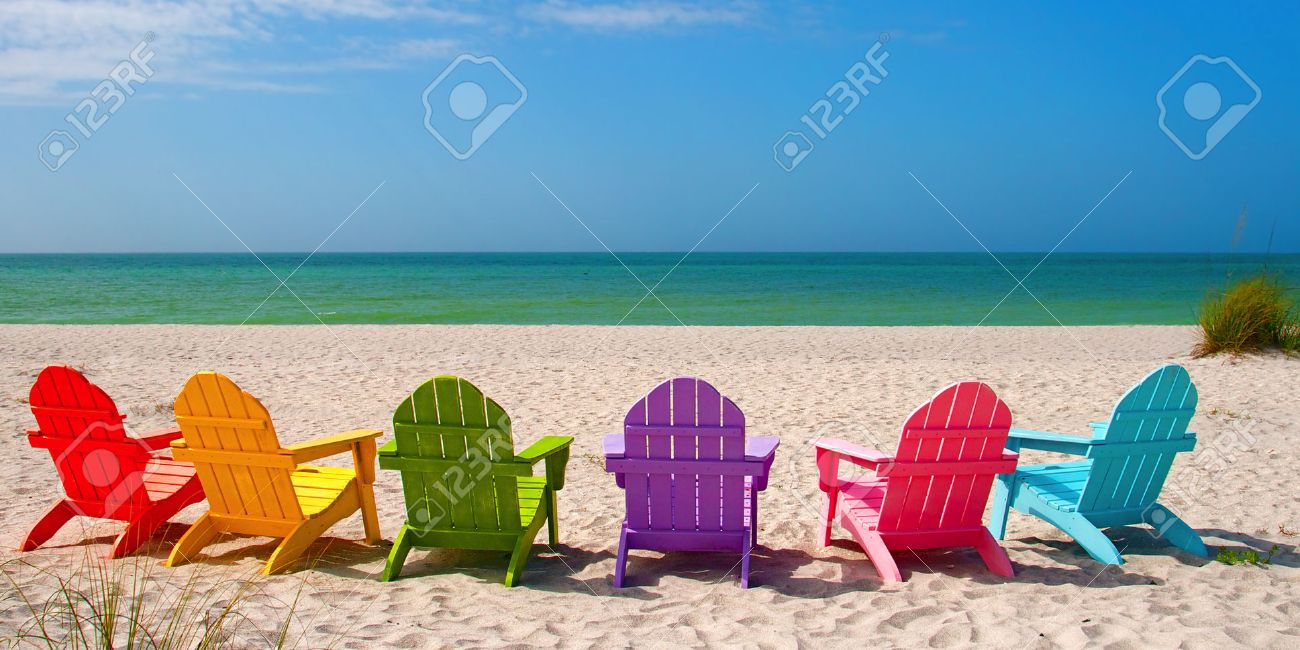Incroyable Adirondack Beach Chairs For A Summer Vacation In The Shell Sand On Captiva  Sanibel Island Florida
