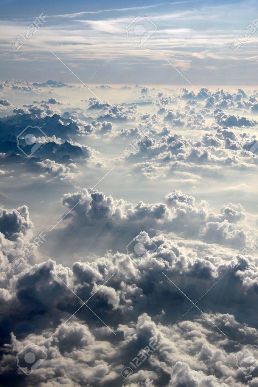 aerial over the Alps with clouds in the evening Stock Photo - 7078089