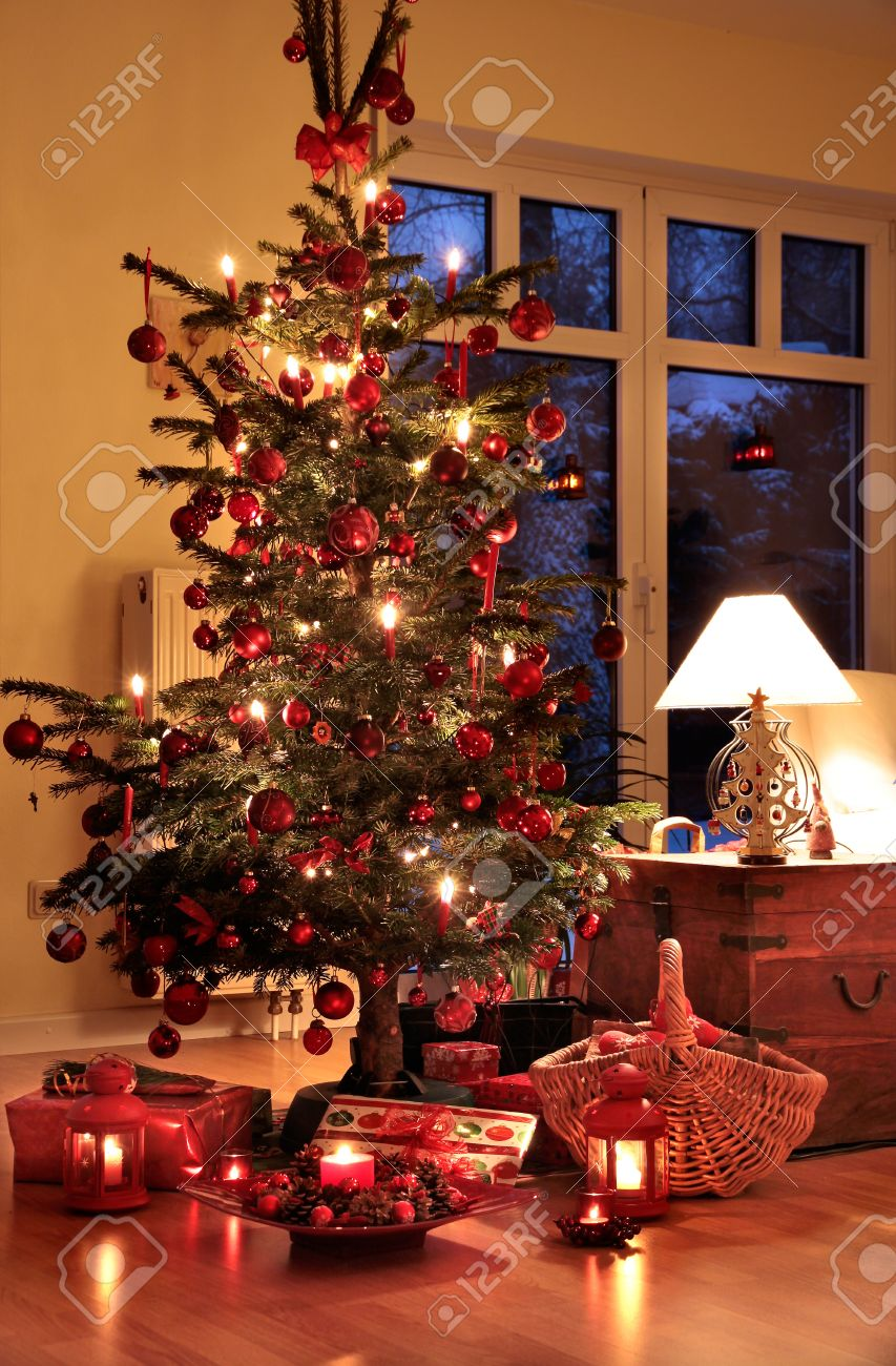 illuminated christmas tree in german home with candlelights stock photo 10670135