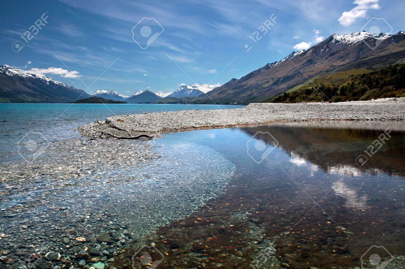 Banks of Lake Wakatipu between Queentown and Glenorchy, Otago, South island,  New Zealand Stock Photo - 14258784