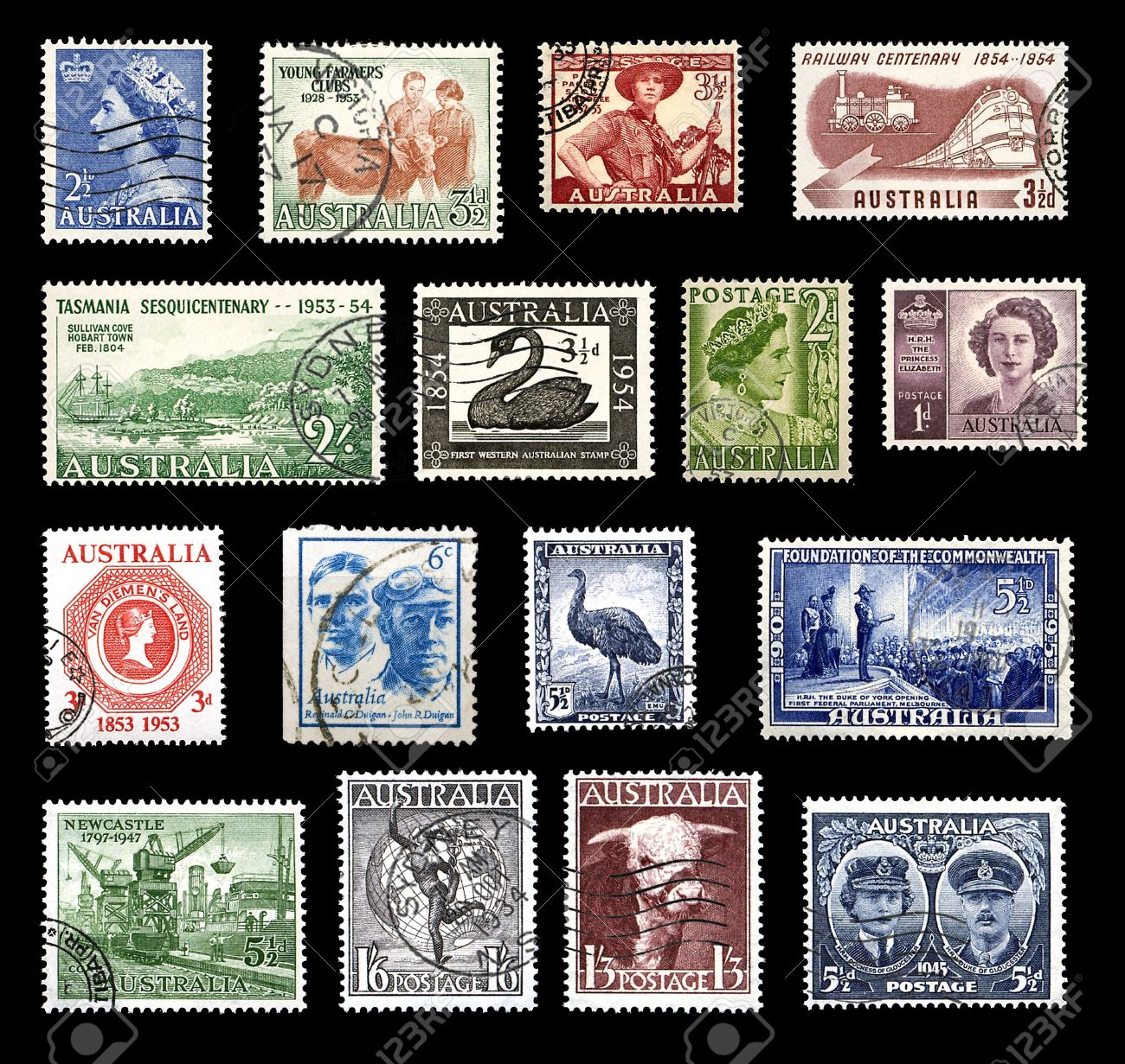 Various stamps from australia from the 40s and 50s showing various stamps from australia from the 40s and 50s showing national symbols stock photo 14296422 buycottarizona