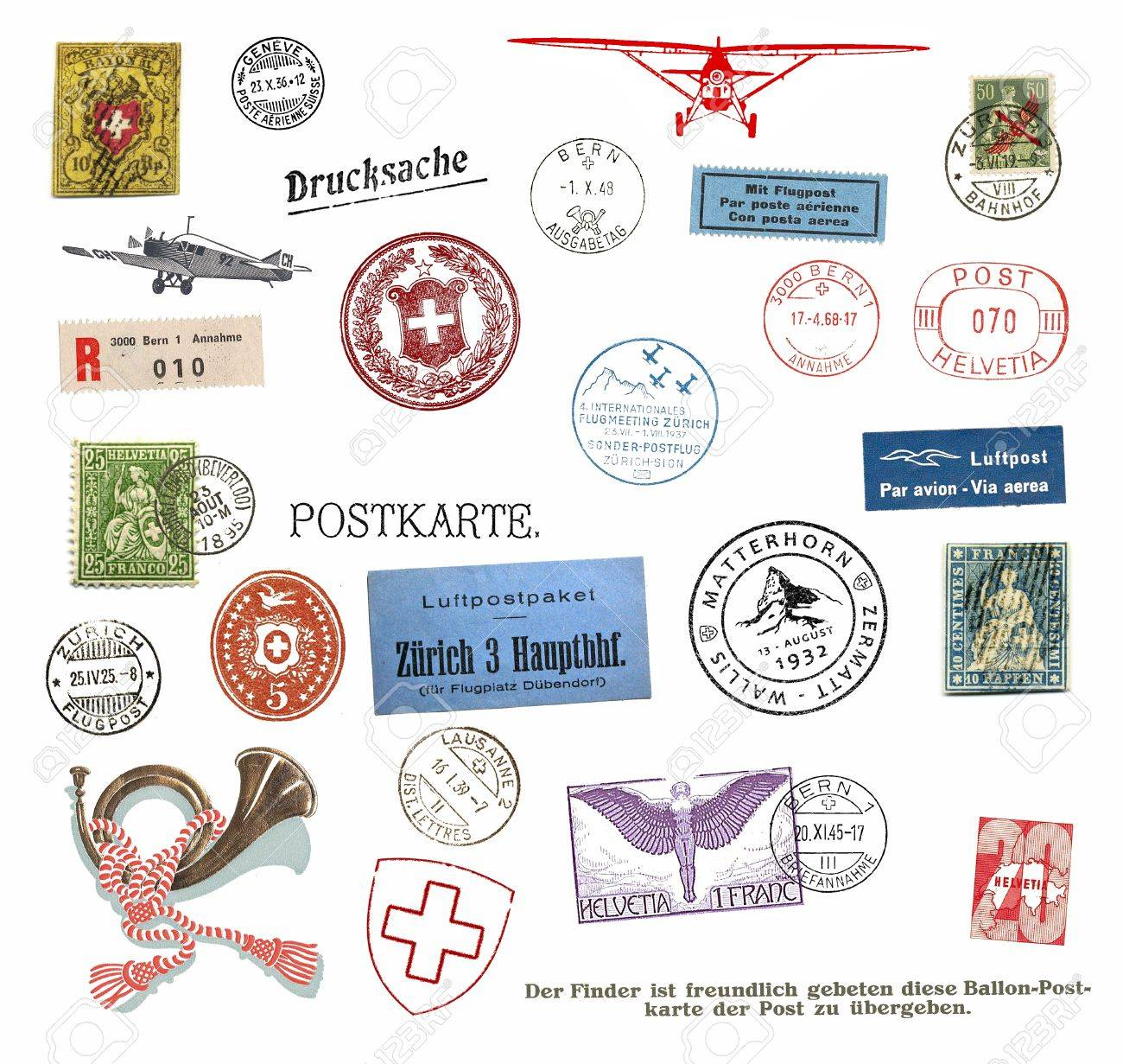 Vintage Postage Stamps And Labels From Switzerland Stock Photo ...