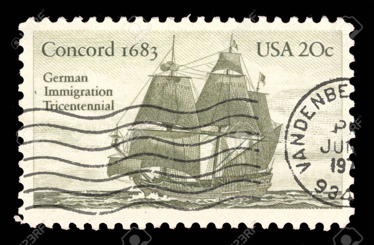 Historic 20 Cent Postage Stamp From USA German Immigration Ship Stock Photo