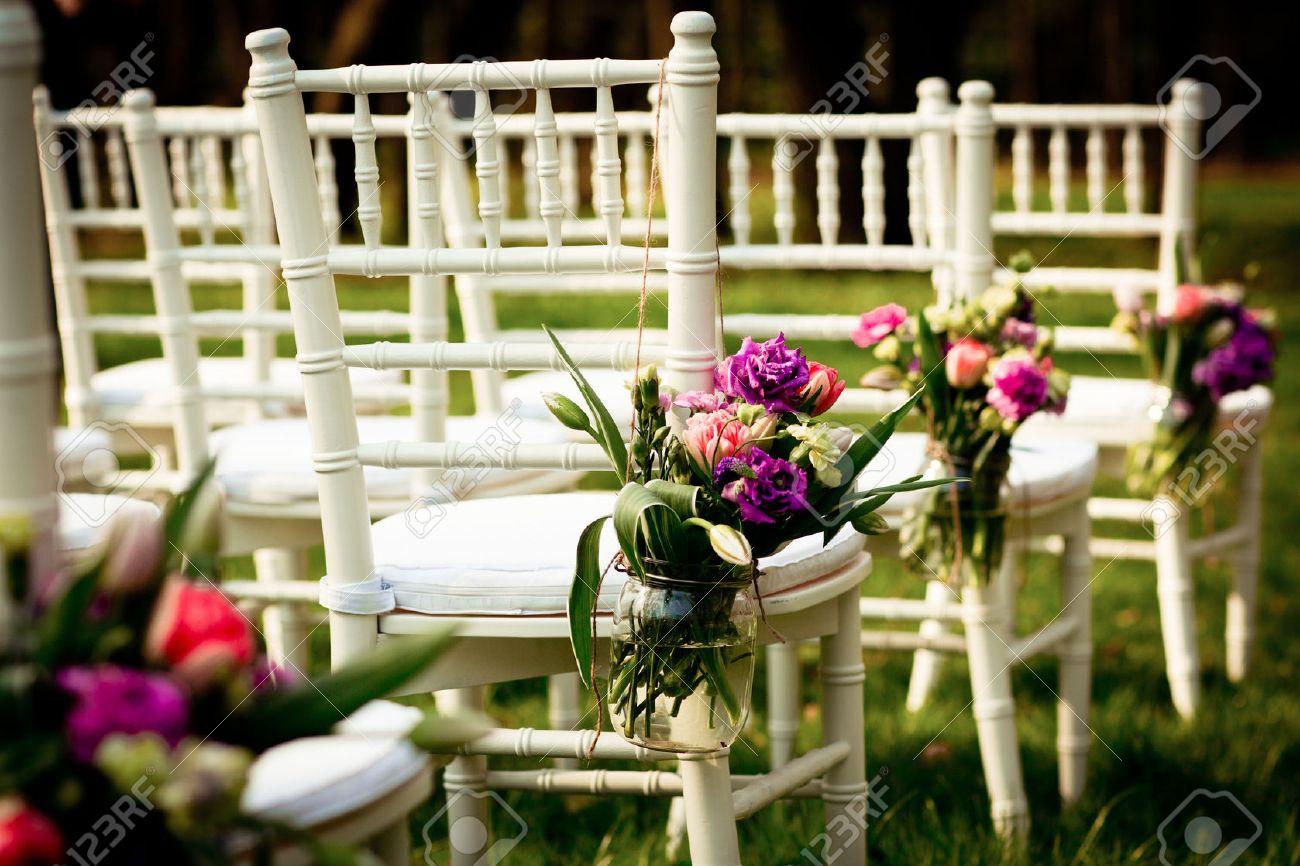Beautiful Wedding Flower Decorations Stock Photo