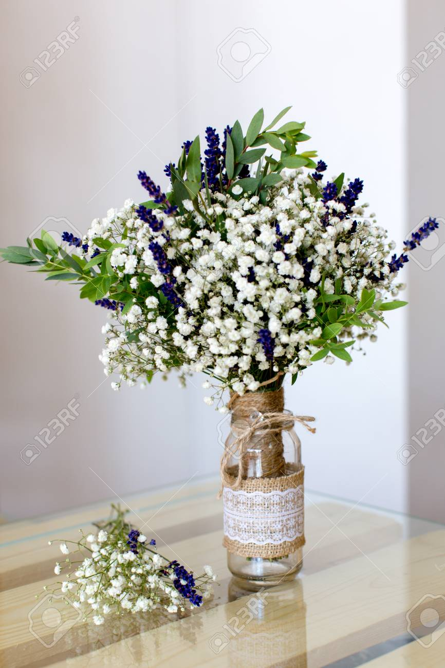 Fragrant Bouquet Of Baby S Breath With Eucalyptus And Lavender Stock Photo Picture And Royalty Free Image Image 44345061