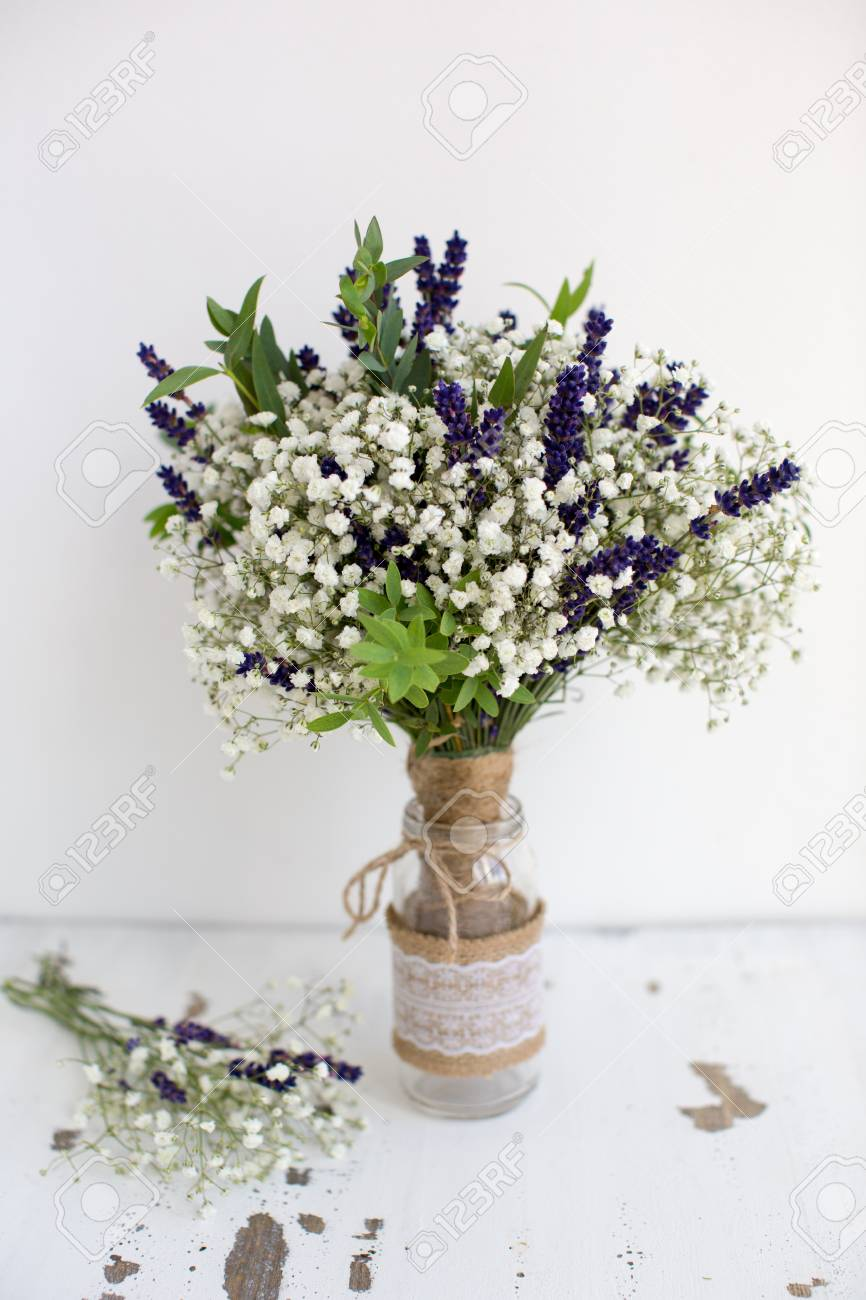 Fragrant Bouquet Of Baby S Breath With Eucalyptus And Lavender Stock Photo Picture And Royalty Free Image Image 44345068