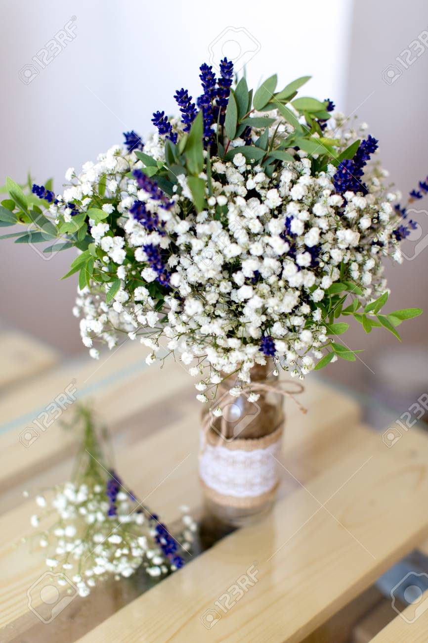 Fragrant Bouquet Of Baby S Breath With Eucalyptus And Lavender Stock Photo Picture And Royalty Free Image Image 44345070