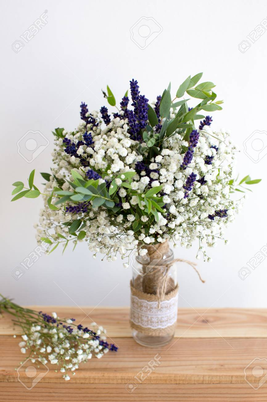 Fragrant Bouquet Of Baby S Breath With Eucalyptus And Lavender Stock Photo Picture And Royalty Free Image Image 44345072