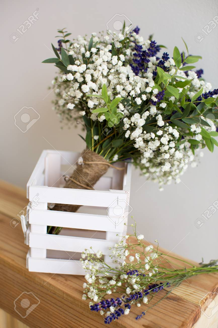 Fragrant Bouquet Of Baby S Breath With Eucalyptus And Lavender Stock Photo Picture And Royalty Free Image Image 44345175