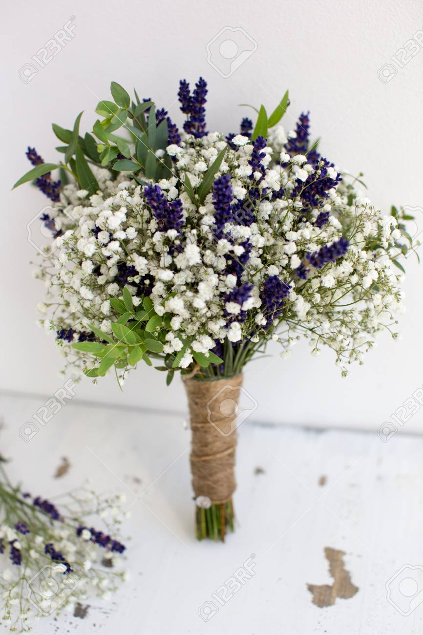 Fragrant Bouquet Of Baby S Breath With Eucalyptus And Lavender Stock Photo Picture And Royalty Free Image Image 44345179