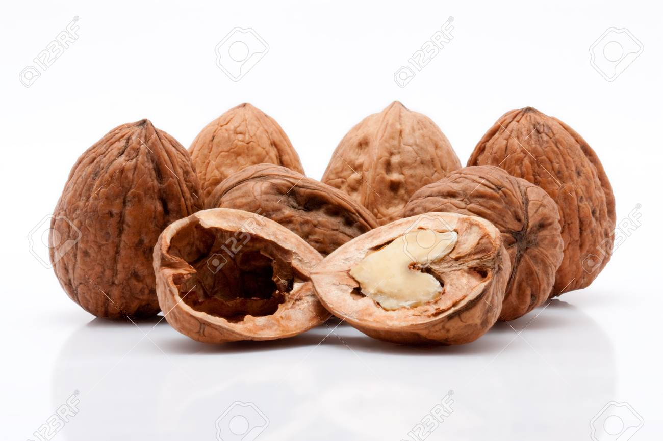 open walnuts on white background Stock Photo - 15570072