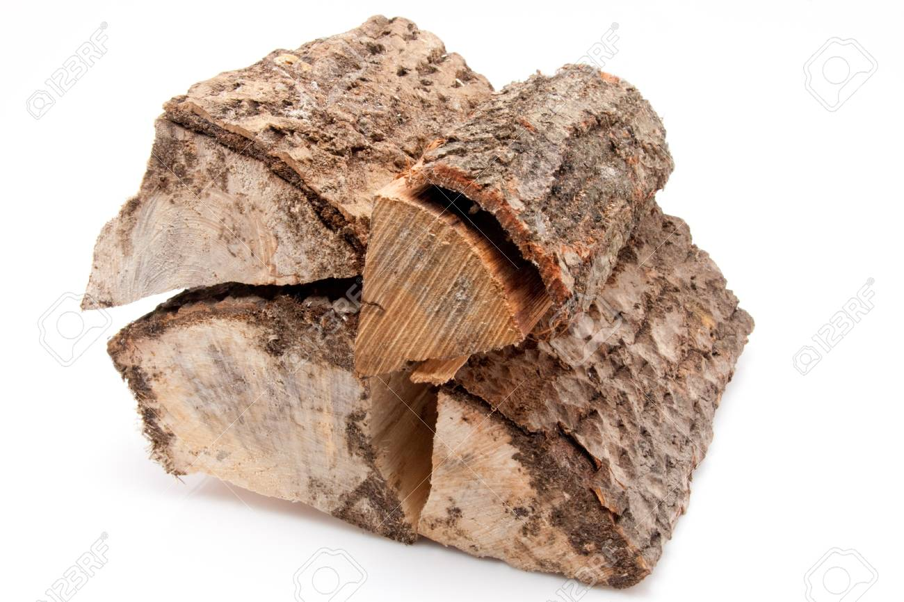 closeup of a stack of firewood isolated on white background Stock Photo - 17285192