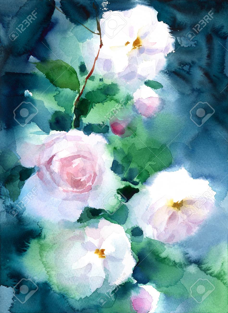 White Roses On Dark Background Watercolor Flowers Floral Hand