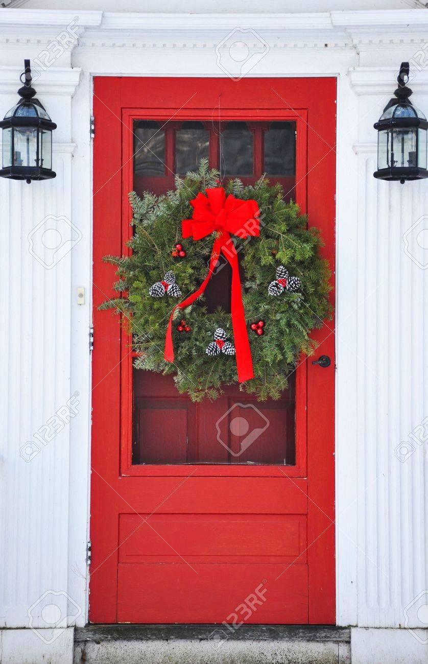 Wreath on red front door stock photo picture and royalty free wreath on red front door stock photo 6073784 rubansaba