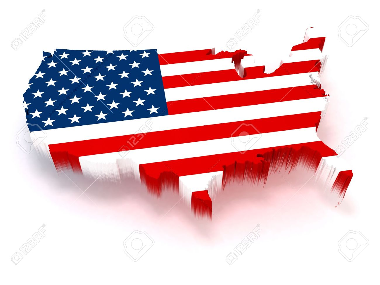 D USA Map Covered With A Us Flag Texture Stock Photo Picture And - Us map 3d