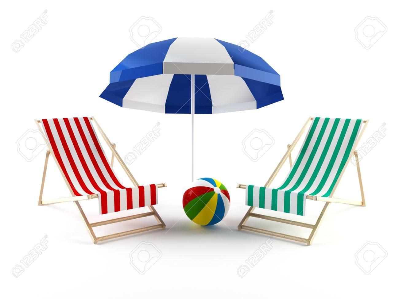 Beach chairs with umbrella - Beach Chairs And Ball Under An Umbrella Stock Photo 13432021