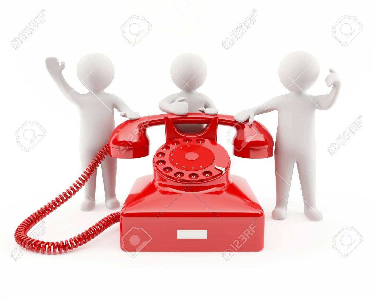 3d people with a red telephone contact us concept Customer Telephone Contacts