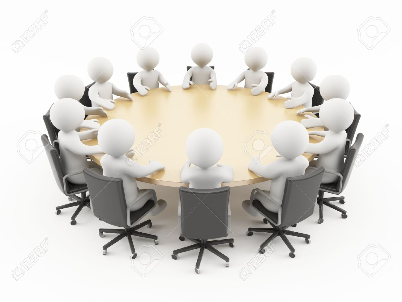 3D people sitting in a business meeting Stock Photo - 13549121