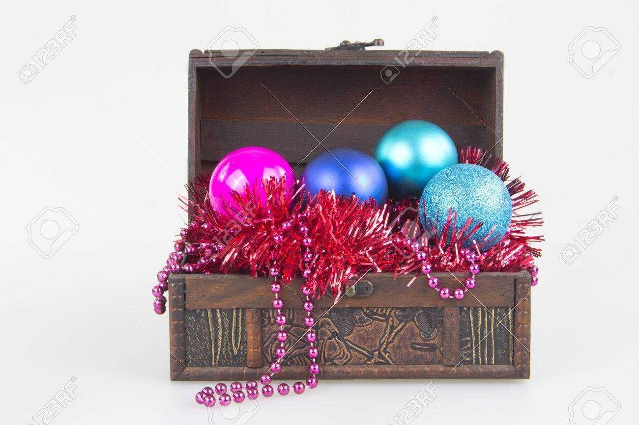 Christmas tree decoration in a box - Stock Photo Christmas Tree Decoration Balls Garment In A Box Isolated On White Background