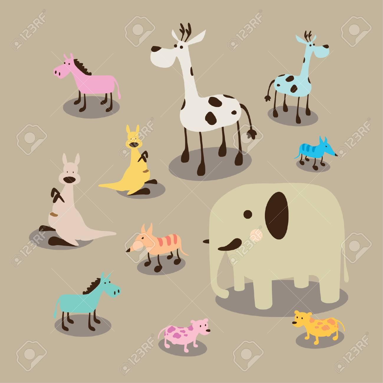 かわいい動物イラスト セットのイラスト素材ベクタ Image 71139951