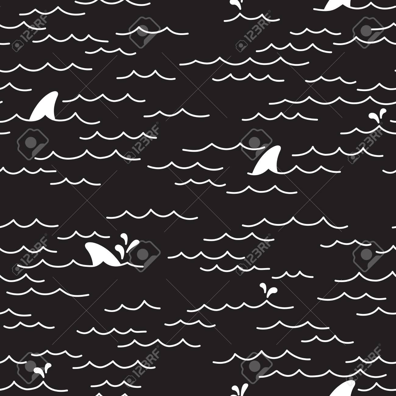 海海サメ シームレス パターン黒の落書き 壁紙 背景のイラスト素材