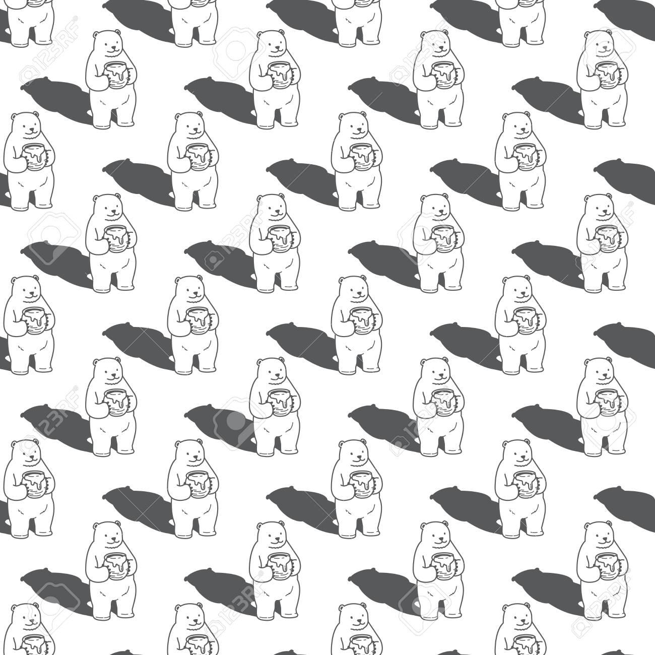 Polar Bear Seamless Pattern Vector Honey Wallpaper Background