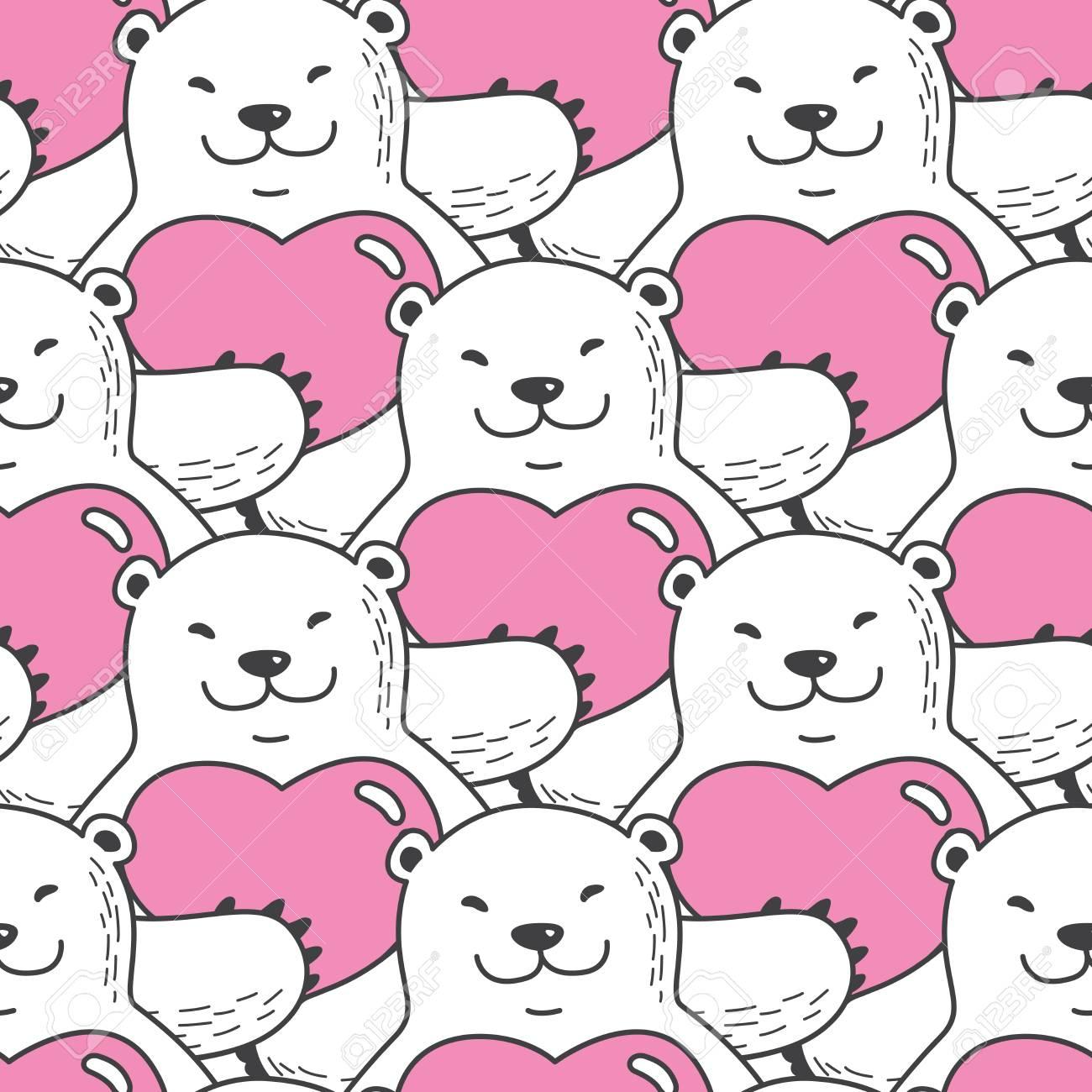 Bear Polar Bear Seamless Pattern Vector Hug Heart Valentine Isolated Royalty Free Cliparts Vectors And Stock Illustration Image 94832639