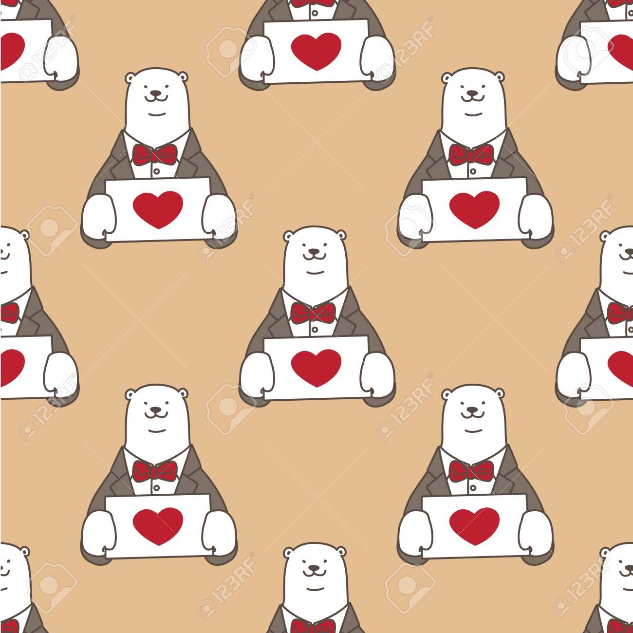 Bear Polar Bear Seamless Pattern Vector Heart Love Valentine