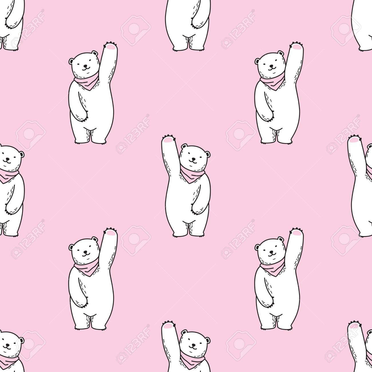 Bear Seamless Pattern Polar Bear Vector Doodle Wallpaper Isolated