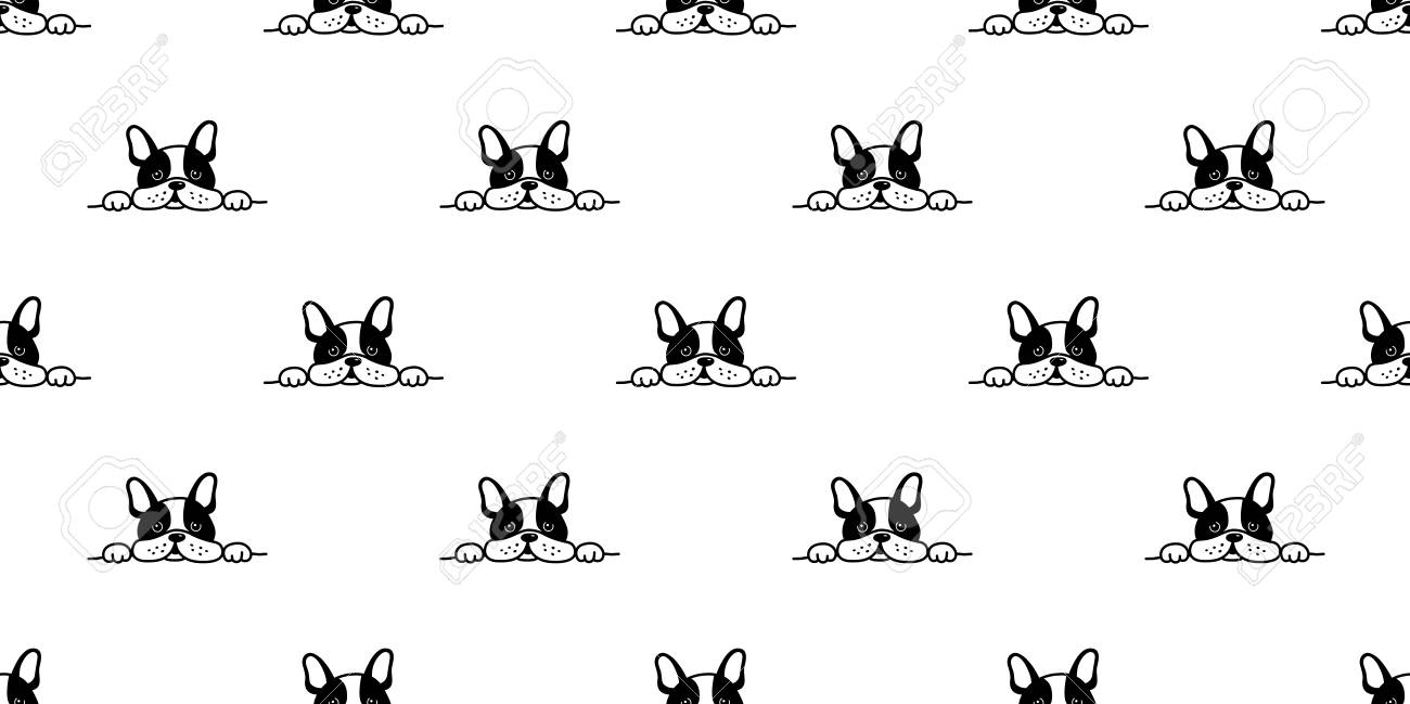 dog seamless french bulldog vector pattern face sleepy isolated wallpaper background - 104896620