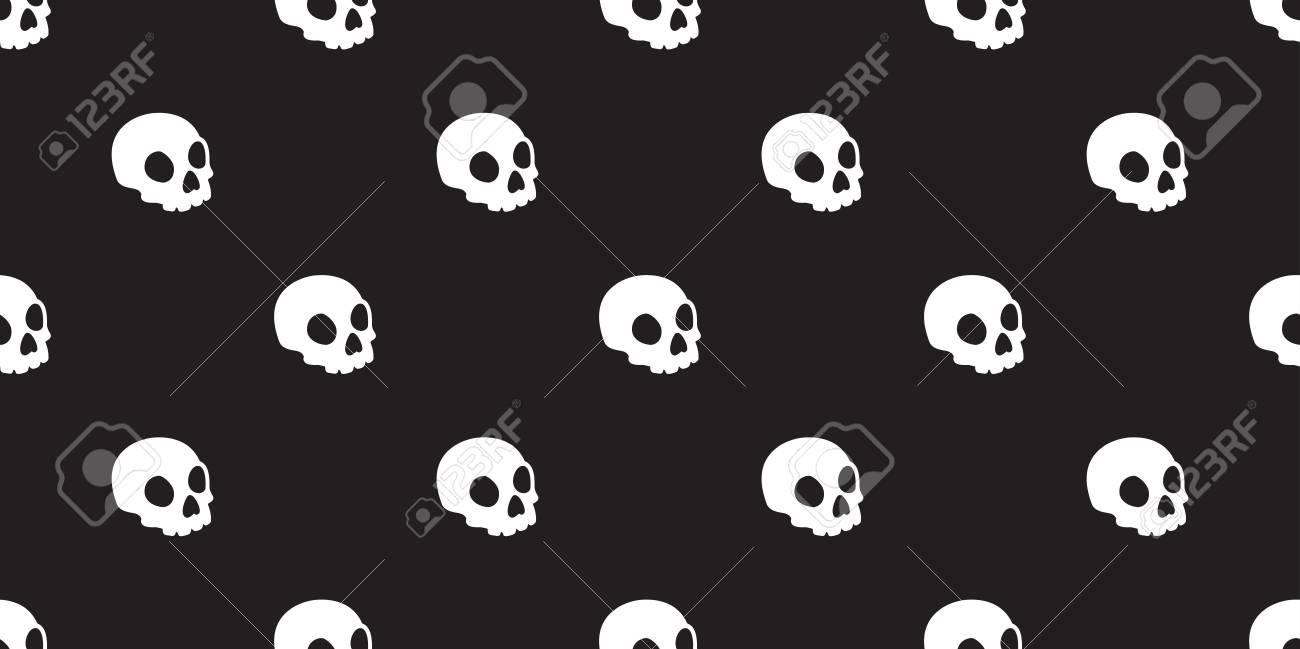 Skull Seamless Halloween Vector Pattern Isolated Bone Skeleton