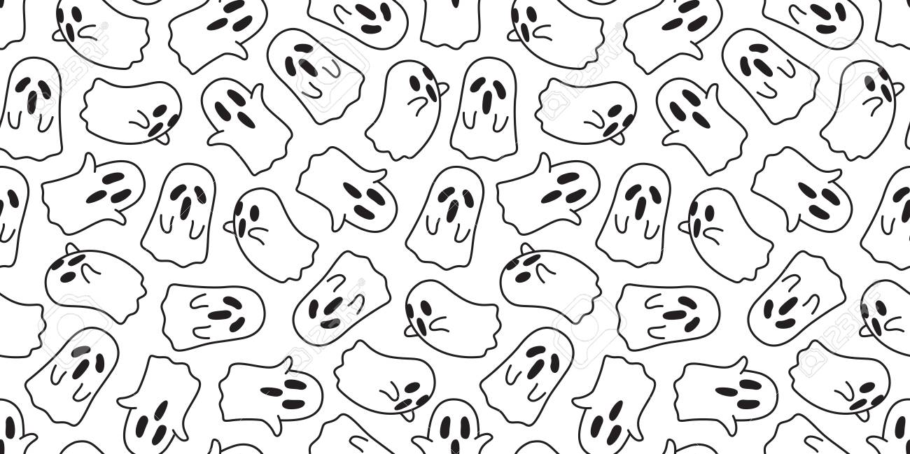 Ghost Vector Seamless Pattern Halloween Isolated Spooky Cartoon